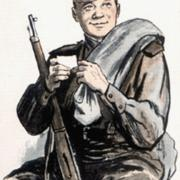 солдат на открытке день победы