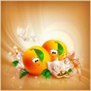 апельсинки на свадебной открытке