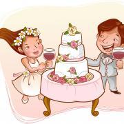 торт на свадебной открытке