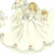 невеста в платье свадебная открытка