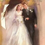 невеста и жених на свадебной открытке