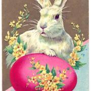 кролик на открытке к пасхе