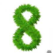 зеленая 8 открытка к 8 марта