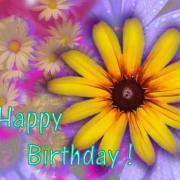 желтый цветок открытка с днем рождения