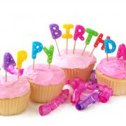 пироженки на открытке с днем рождения