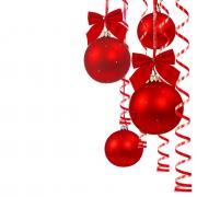 красные шары открытка с новым годом