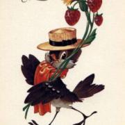 воробей на старой открытке