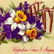 красивые цветы на старой открытке