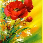 шикарные цветы на старой открытке