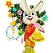 заяц и елка на старой открытке